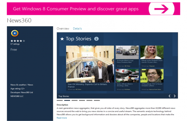 News360 Beta Release for Windows 8 Consumer Preview